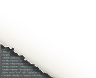 Torn corner of sheet of paper under which programming code. Background web development Royalty Free Stock Photos
