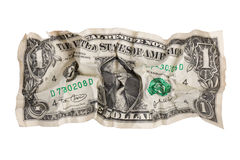 Torn crumpled dollar. On a white background stock images