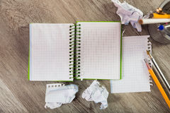 Torn crumpled notebook sheet Royalty Free Stock Images