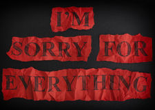 Torn crumpled pieces of paper with the phrase Sorry for everything stock photo