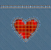 Torn Denim Patch. Heart Shape Vector Photo Realistic Torn Denim Patch With Plaid Textile Royalty Free Stock Image