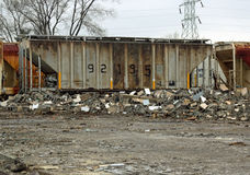Torn down builing along the Train Tracks Stock Photo