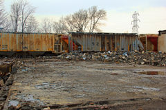 Torn down builing along the Train Tracks Royalty Free Stock Photos