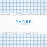 Torn Edge of Blue Squared Paper. Torn Piece of Squared Paper from Notebook. Blank Page Isolated on Transparent Background. Vector stock illustration