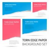 Torn edge paper background set stock illustration