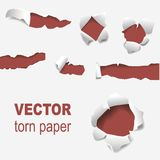Torn edges paper hole lacerated ragged edge and crack realistic 3d style vector illustration concept grunge page. Torn edges paper hole lacerated ragged paper Stock Image