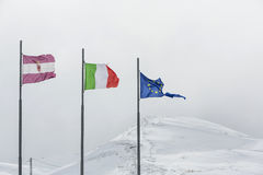 Torn European Union flag on white background, Italy flag Royalty Free Stock Photography