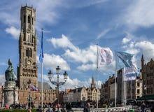 Torn för Bruges klockstapelklocka Belgien Arkivbild