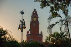 Torn för byggnad för röd tegelsten med Golden Dome och klocka i centret av Merida Den mexicanska flaggan fladdrar på luft Stadsst Royaltyfri Fotografi