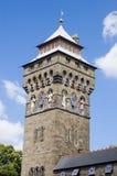 torn för cardiff slottklocka Arkivbild