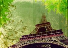 torn för eiffel grungesepia Arkivfoto