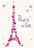 Torn för Eiffel torn från hjärtor.