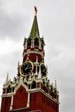 torn för fyrkant för spasskaya för kremlin moscow natt rött kremlin moscow Arkivbilder