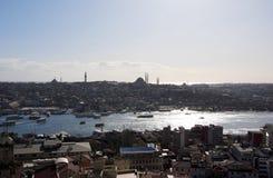 torn för galataistanbul panorama royaltyfria foton