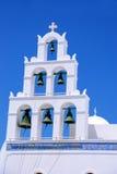 torn för klockaoia santorini Royaltyfri Fotografi