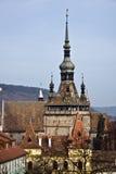 torn för klockaromania sighisoara Royaltyfri Bild
