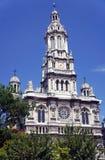 Torn för kyrklig klocka med en klocka Fotografering för Bildbyråer