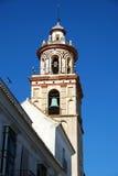 Torn för kyrklig klocka, Sanlucar de Barrameda Royaltyfri Fotografi