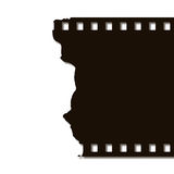 Torn Film Strip (Left). Black on white background Royalty Free Stock Photo