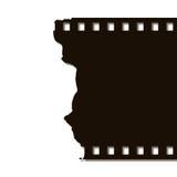 Torn Film Strip (Left). Black on white background Royalty Free Stock Photo
