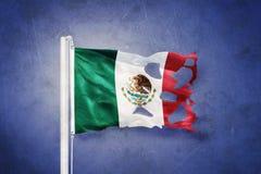 Torn flag of Mexico flying against grunge background vector illustration