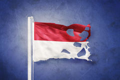 Torn flag of Monaco flying against grunge background Royalty Free Stock Photos