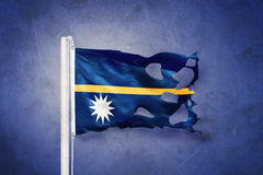 Torn flag of Nauru flying against grunge background royalty free illustration
