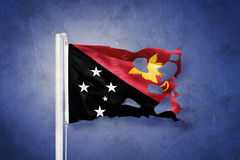 Torn flag of Papua New Guinea flying against grunge background Stock Photos