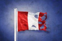 Torn flag of Peru flying against grunge background vector illustration