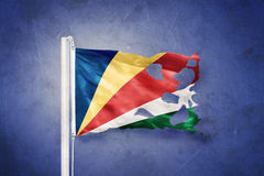 Torn flag of Seychelles flying against grunge background Royalty Free Stock Photography