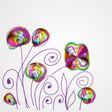 Torn floral background for gift design. Bright decor with abstract flowers and leafs. Stock Images