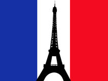 torn för eiffel flaggafransman Royaltyfri Bild