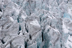 Torn glacier with many crevasses in detail Stock Image