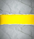 Torn gray crumpled Paper and space for text with yellow paper ba Stock Photos