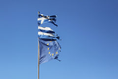 Torn Greek and European Union flag Royalty Free Stock Image