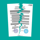 Torn in half contract document. Royalty Free Stock Image
