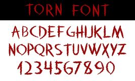 TORN. Hand written display red font calligraphy. ABC. Scratched decorative colored Vector alphabet and numbers. Claw cuts. Animal wounds. Hand drawn text. For Stock Photos