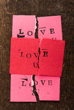 Torn Handmade Valentine's Day Card Royalty Free Stock Photo