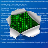 Torn hole in BSOD error text with green matrix code signs. On background Royalty Free Stock Photo