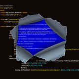 Torn hole in complicated program code and BSOD error Stock Photography