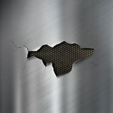 Torn hole in metal background. Steel metal background with hole in center stock images