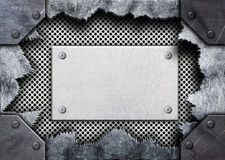 Torn hole in metal, steel mesh plate, 3d, illustration royalty free illustration