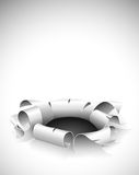 Torn hole in the paper with bent edges. Illustration stock illustration