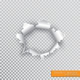 Torn hole in paper with ripped edges with shadow on transparent background. Graphic concept for your design.  vector illustration