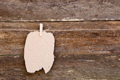Torn homemade Paper - cardboard label hanging on clothespin agai Royalty Free Stock Photos