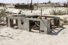 Torn house in Salton Sea, California stock photo