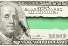 Torn hundred dollar. Bill with space for your own text Royalty Free Stock Photography