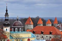 4 torn i den Tallinn staden Arkivfoto