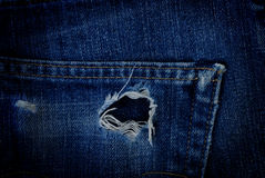 Torn jeans at pocket Royalty Free Stock Photos