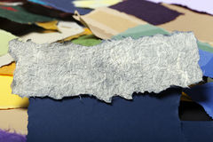 Torn Paper Banner on Torn Paper Background Royalty Free Stock Images